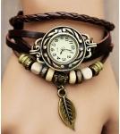 Браслет-часы с кулоном листик / коричневый корпус 2,6 см 10-19 см