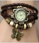 Браслет-часы с кулоном бабочка / коричневый корпус 2,6 см 10-19 см