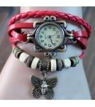 Браслет-часы с кулоном бабочка / бордо корпус 2,6 см 10-19 см