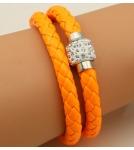Браслет кожаный плетеный двойной оранжевый 40 см