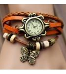 Браслет-часы с кулоном бабочка / оранжевый корпус 2,6 см 10-19 см