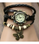 Браслет-часы с кулоном бабочка / черный корпус 2,6 см 10-19 см