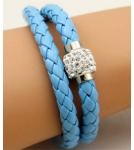 Браслет кожаный плетеный двойной голубой 40 см