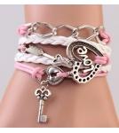 Браслет с Сердцем и Ключом / розовый 16cm+5cm