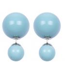 Серьги двойные глянцевые нежно-голубые 16мм * 8мм